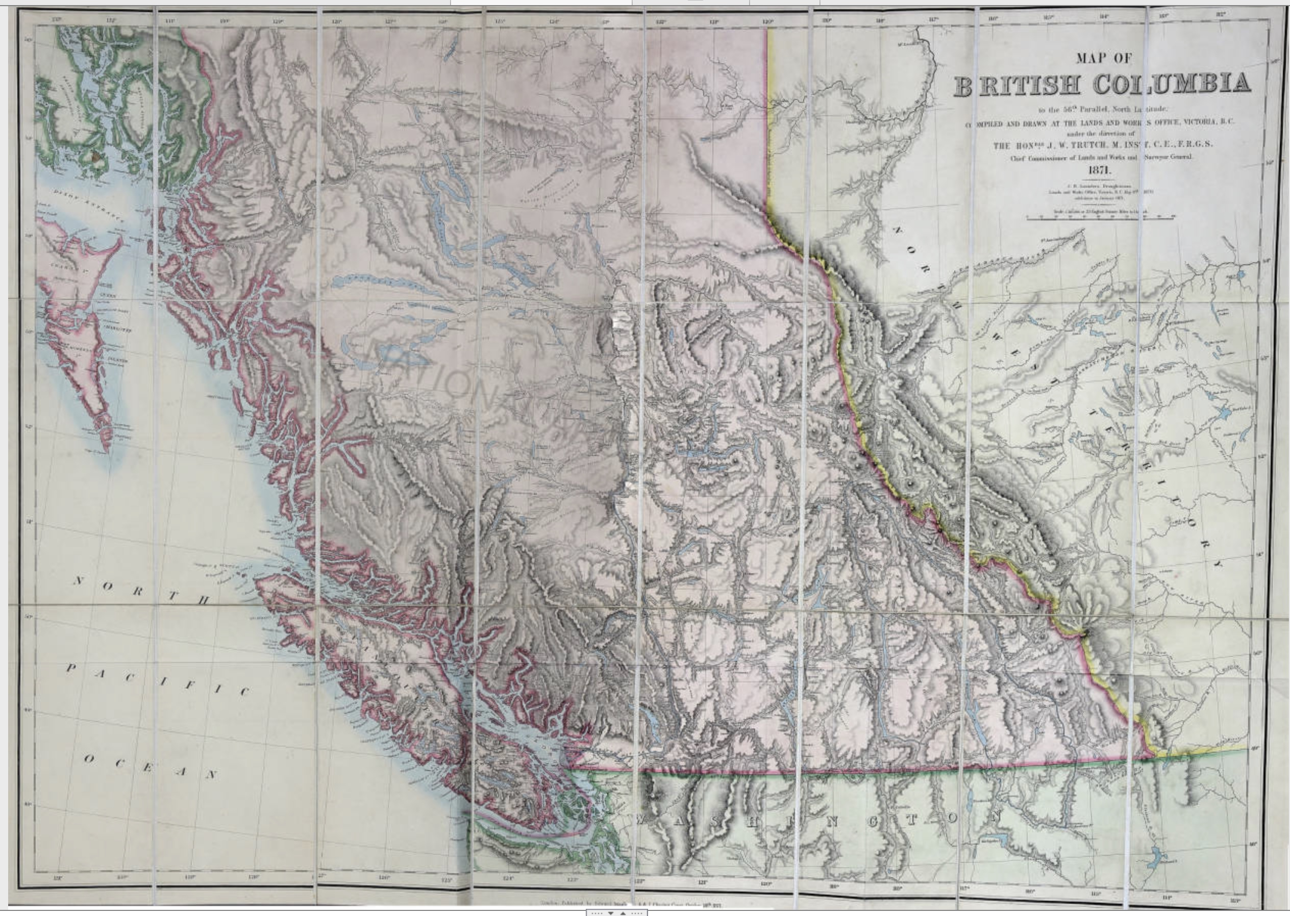 Trutch, Joseph William. Map of British Columbia to the 56th Parallel North Latitude, 1871